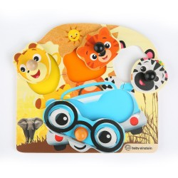 Jucarie de lemn Hape Friendly Safari Faces™ Puzzle Baby Einstein